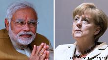 Kombobild Narendra Modi und Angela Merkel