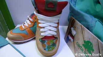 Shoes from recycled material at Green Week, Brussels, 2014.
