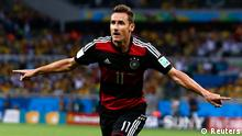 Miroslav Klose celebrates his goal against Brazil in World Cup semi-final