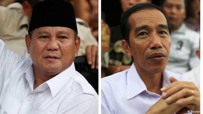 Indonesische Präsidentschaftskandidaten Widodo und Subianto (Reuters)
