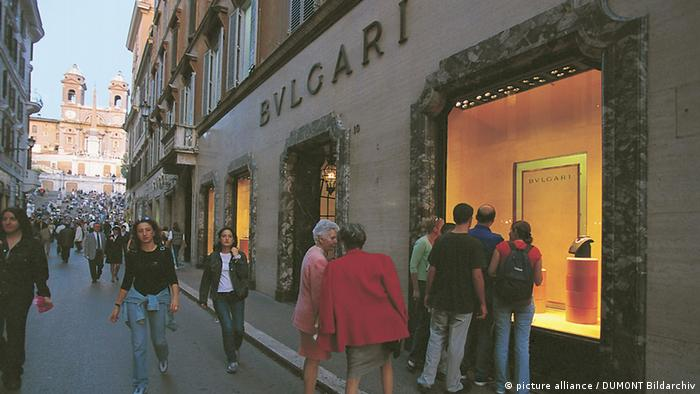 Shopping street in Rome, Italy