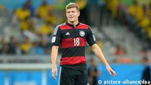 Germany's Toni Kroos during the FIFA World Cup 2014 semi-final soccer match between Brazil and Germany at Estadio Mineirao in Belo Horizonte, Brazil, 08 July 2014. Photo: Thomas Eisenhuth/dpa (RESTRICTIONS APPLY: Editorial Use Only, not used in association with any commercial entity - Images must not be used in any form of alert service or push service of any kind including via mobile alert services, downloads to mobile devices or MMS messaging - Images must appear as still images and must not emulate match action video footage - No alteration is made to, and no text or image is superimposed over, any published image which: (a) intentionally obscures or removes a sponsor identification image; or (b) adds or overlays the commercial identification of any third party which is not officially associated with the FIFA World Cup)