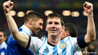Lionel Messi celebrates after Argentina's win