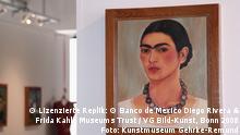 ***ACHTUNG: Verwendung nur im Zusammenhang mit Berichterstattung über die Ausstellung. Zu jeder Abbildung eines Gemäldes muss nachfolgender Text beigefügt sein:Lizenzierte Replik: © Banco de México Diego Rivera & Frida Kahlo Museums Trust / VG Bild-Kunst, Bonn 2008, Foto: Kunstmuseum Gehrke-Remund.*** Zu sehen ist ein Ausstellungsraum im Museum Gehrke-Remund. An der Wand hängt eine lizensierte Replik von Frida Kahlos Gemälde Selbstbildnis mit Halskette. Lizenzierte Replik: © Banco de México Diego Rivera & Frida Kahlo Museums Trust / VG Bild-Kunst, Bonn 2008 Foto: Kunstmuseum Gehrke-Remund