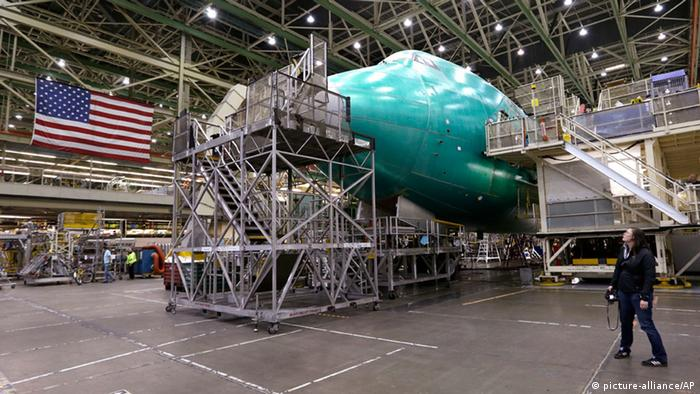 A Boeing 747 jet being assembled