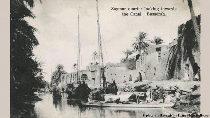 کانال دسترسی به بندر بصره. تاریخ عکس: ۱۹۱۰ میلادی.