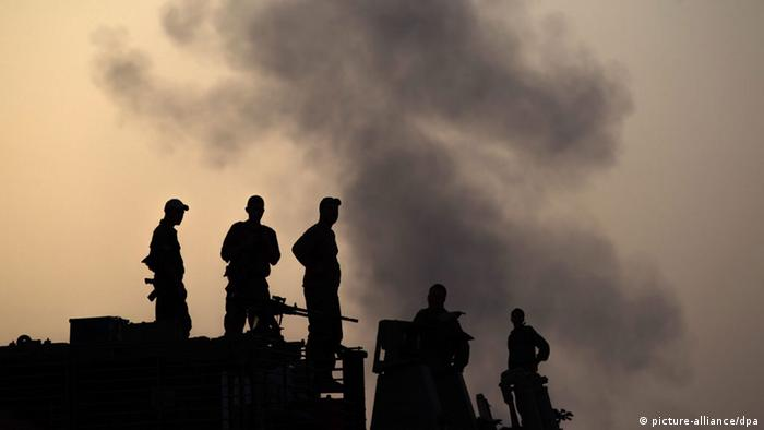 Silhouettes of Israeli soldiers in Gaza 12.07.2014