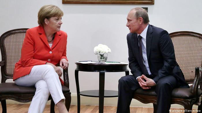Ангела Меркель и Владимир Путин (13.07.14)