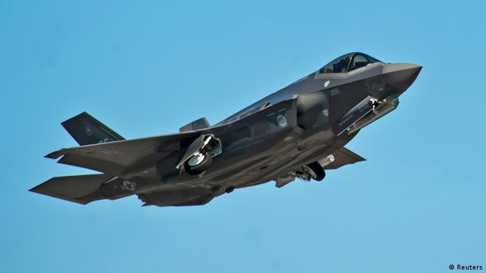 F-35A Lightning II Joint Strike Fighter jet is airborne.