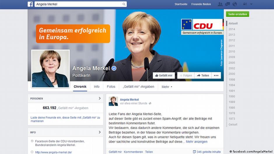 Страница Меркель в Facebook подверглась спам-атаке   Новости из Германии о Германии   DW   15.07.2014