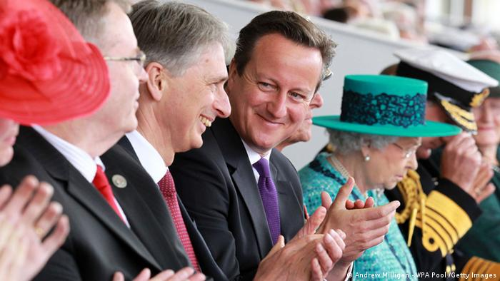 Philip Hammond, David Cameron and the Queen