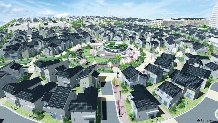 A computer-generated image of the Fujisawa smart city, Copyright: Panasonic.