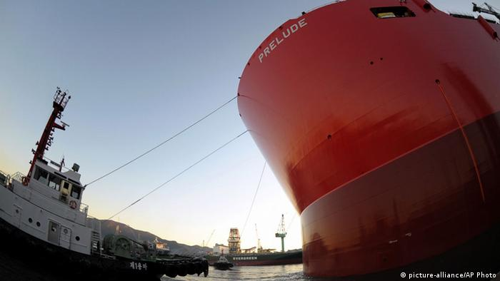 FLNG floating liquefied natural gas vessel Prelude in South Korea