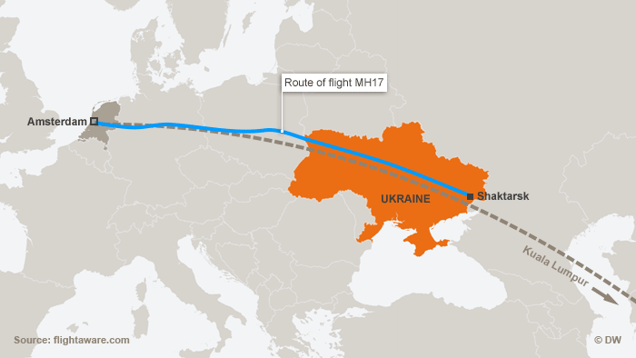 Map of route of flight MH17 (copyright: DW)