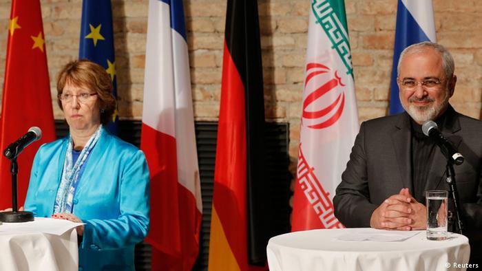 Catherine Ashton und Mohammad Javad Zarif Pressekonferenz in Wien 18.07.2014