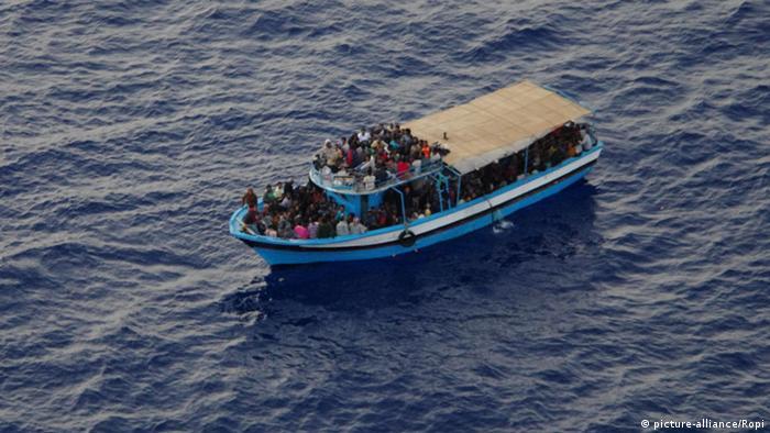 A migrant boat in the Mediterranean