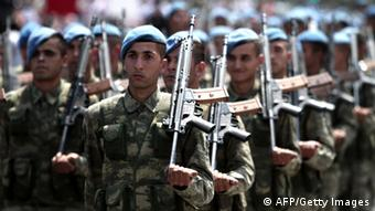 Turkish troops Photo: Yiannis Kourtoglou/AFP/Getty Images