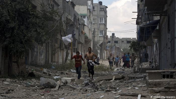 Rubble on a street in Gaza