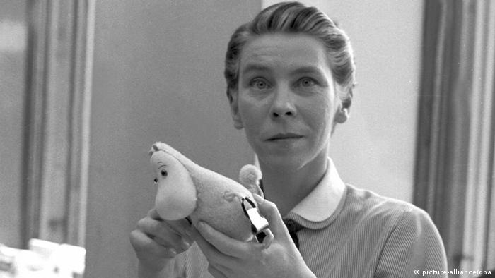 Tove Jansson with a Moomin figure, in 1956