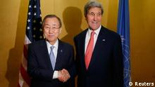 U.S. Secretary of State John Kerry meets with U.N. Secretary General Ban Ki-Moon in Cairo, July 21, 2014. Kerry began a diplomatic push on Monday to try to secure a cease-fire between Israel and Hamas but senior U.S. officials acknowledged this would be challenging. Speaking as Kerry flew to Cairo, senior U.S. officials stressed the difficulty of ending the conflict, noting that Egypt's current government has poorer relations with Hamas than its predecessor led by the Muslim Brotherhood's Mohamed Mursi. REUTERS/Charles Dharapak/Pool (EGYPT - Tags: POLITICS)