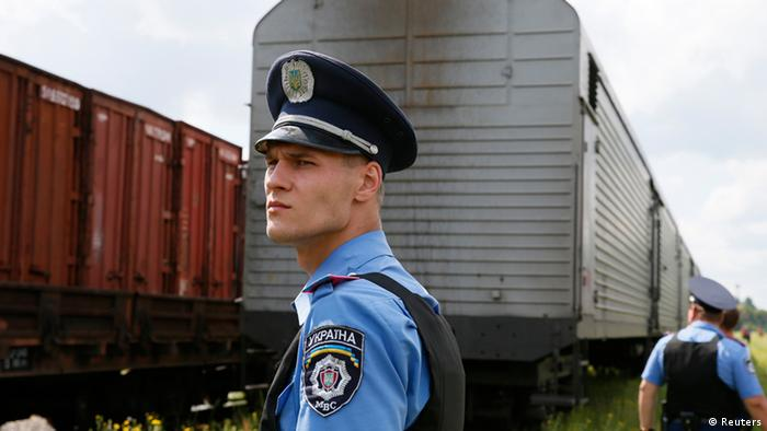 MH17 Waggons kommen in Charkow an 22.07.2014