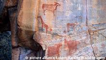 Rock art, Tsodilo Hills, UNESCO World Heritage Site, Ngamiland, Botswana, Africa (format: 35mm, velvia film). Tsodilo is one of Africa's premier rock art sites. Over 4000 images have been painted at 400 sites. As well, there are the remnants of ancient villages, ironworking furnaces and mines. Oral traditions claim that Tsodilo is the home of the spirits of each animal, bird, insect and plant that has ever been created. Tsodilo is also a place of unique natural beauty.