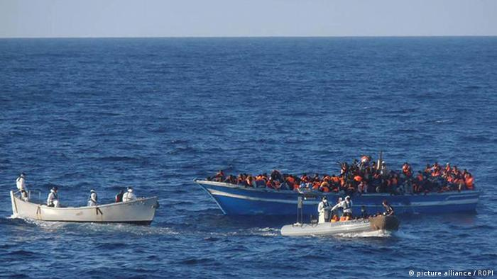 Migrants near Lampedusa, south of Sicily