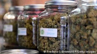 Mehrere Schraubgläser mit Cannabis stehen in einem Regal (Foto: FREDERIC J. BROWN/AFP/Getty Images)