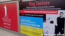 Poster mit dem Rettungsaufruf für den ukrainischen Regisseur Oleh Sentsov