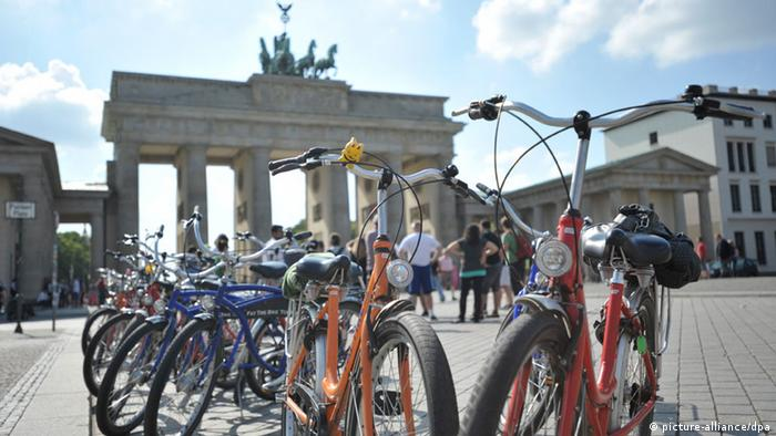 Tourists at the Brandeburg Gate in Berlin