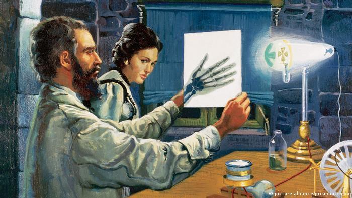 Вильгельм Конрад Рёнтген в своей лаборатории. Рисунок