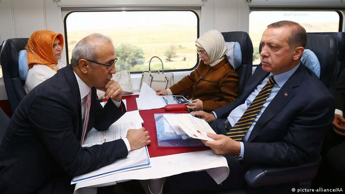 Turkish PM Erdogan in a high-speed train from Ankara to Istanbul