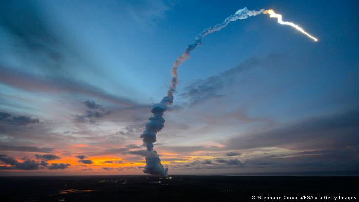 ESA's space port is located in Kourou in French Guiana. For its launcher system, ESA uses the Ariane 5 rocket, which was developed especially for the job. But in 1997, the first launch with an Ariane 5 rocket failed. It exploded due to a software error.