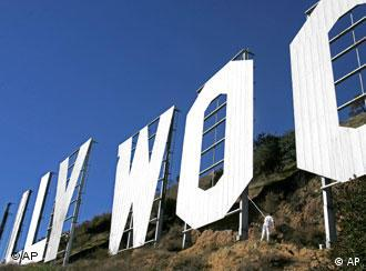 The trademark Hollywood sign in California