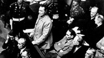 Hermann Goering stands in the prisoner's dock at the Nuremberg War Crimes Trial in Germany in Nov. 21, 1945