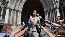 Marina Litvinenko, the wife of former KGB agent Alexander Litvinenko who was murdered in London in 2006, speaks outside the Royal Courts of Justice in London July 31, 2014. The inquest into the murder of Litvinenko was formally suspended, at the High Court on Thursday, and an inquiry opened, local media reported. REUTERS/Toby Melville (BRITAIN - Tags: CRIME LAW POLITICS TPX IMAGES OF THE DAY)