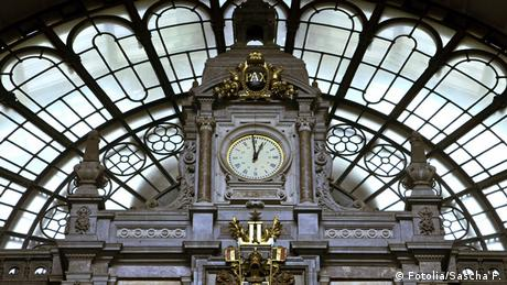 An Image of a clock at Antwerp Central Station
