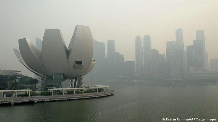 A general view shows the city skyline shrouded by haze in Singapore on June 20, 2013.