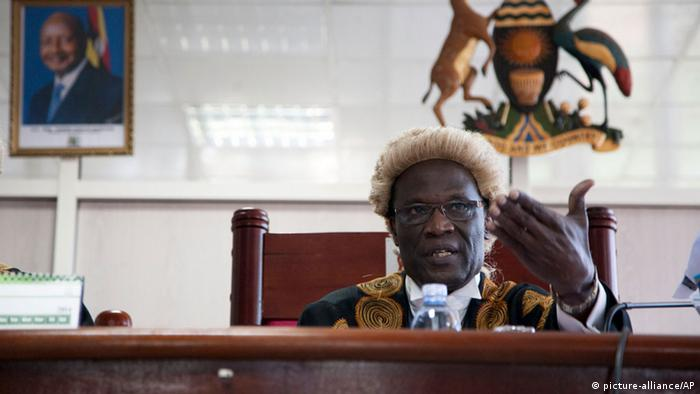 Picture taken in a courtroom in 2014, as judge declares Anti-Homosexuality Law illegal