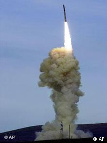 A rocket designed for a missile defense system takes off