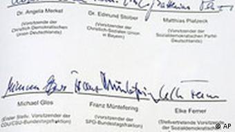 Blick auf die Unterschriften des Koalitionsvertrages
