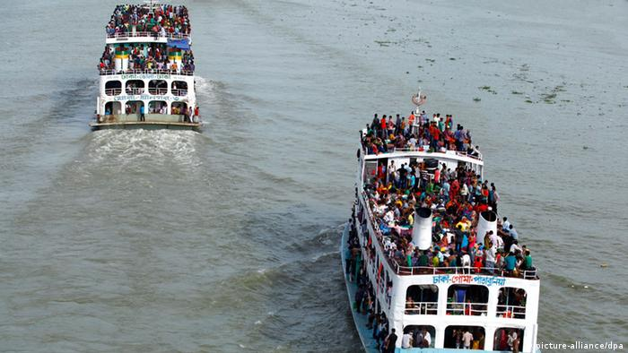 Two ferries full with passengers.