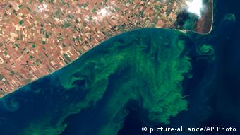 A satellite photo shows the quality of water in Lake Erie