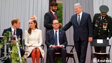 (L-R) Britain's Prince William, his wife Catherine, Duchess of Cambridge, French President Francois Hollande and German President Joachim Gauck arrive to attend a ceremony at the Cointe Inter-allied Memorial, commemorating the 100th anniversary of the outbreak of World War I (WWI) in Liege August 4, 2014. REUTERS/Yves Herman (BELGIUM - Tags: ANNIVERSARY CONFLICT SOCIETY ROYALS POLITICS)
