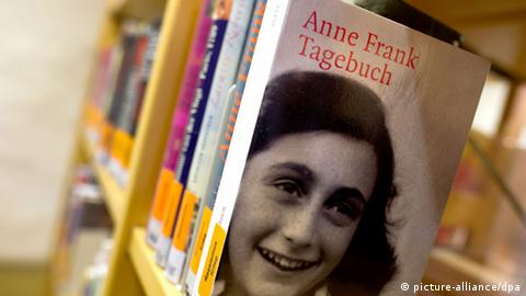 Shelf with books on Anne Frank in the state library of Pirna in Saxony, Germany.