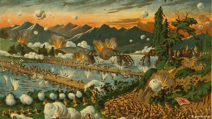 Litographie der Schlacht von Tsingtao 1914 Ausschnitt
