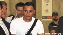 Costa Rican goalkeeper Keylor Navas (R) arrives at Adolfo Suarez Madrid Barajas international airport in Madrid, Spain, on 04 August 2014. Real Madrid confirmed a day before a deal to contract Navas for the next six seasons. Navas will be officially presented at Santiago Bernabeu stadium in Madrid upcoming 05 August. EFE/Diego Garcia