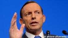 epa04324805 Australian Prime Minister Tony Abbott during a press conference in Canberra, Australia, 21 July 2014. Mr Abbott was reacting to the shooting down of Malaysian Flight MH17 over Ukraine. Twenty-eight people from across Australia were among the 298 people killed in the crash in Ukraine, which the government of Prime Minister Tony Abbott blames on Russia. EPA/ALAN PORRITT AUSTRALIA AND NEW ZEALAND OUT