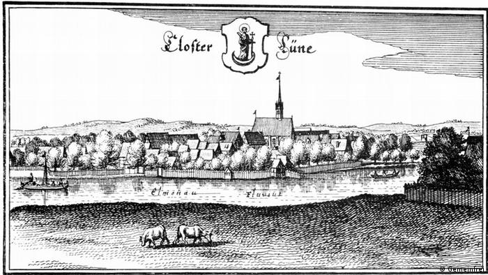 Монастырь Люне на гравюре Матиаса Мериана 1654-го года