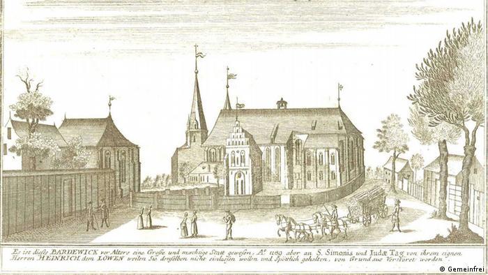 Собор на рисунке 1720 года